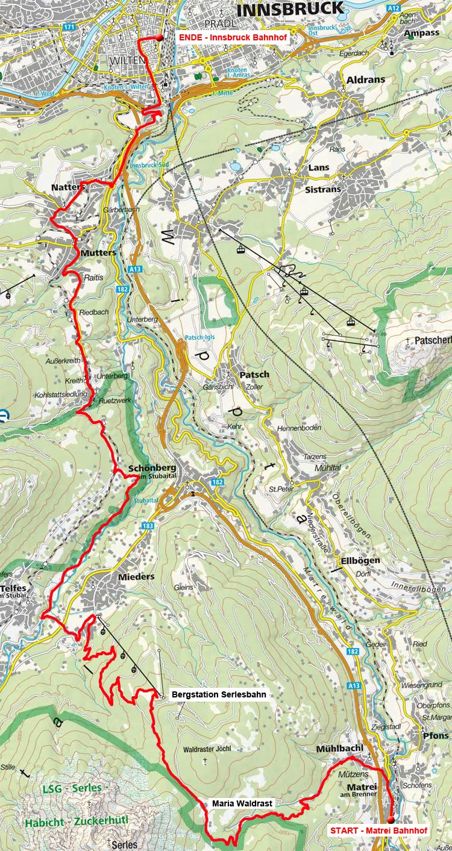 Von Matrei über Maria Waldrast nach Innsbruck
