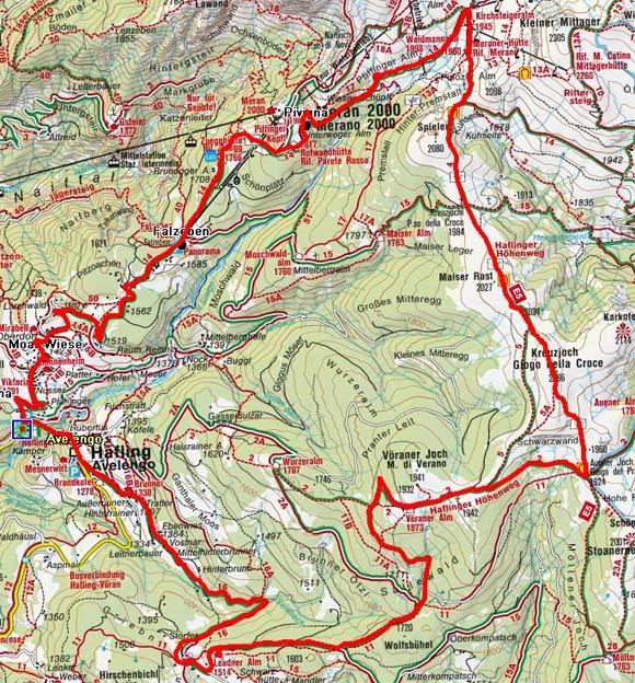 Rundtour Hafling - Auener Joch - Meran 2000