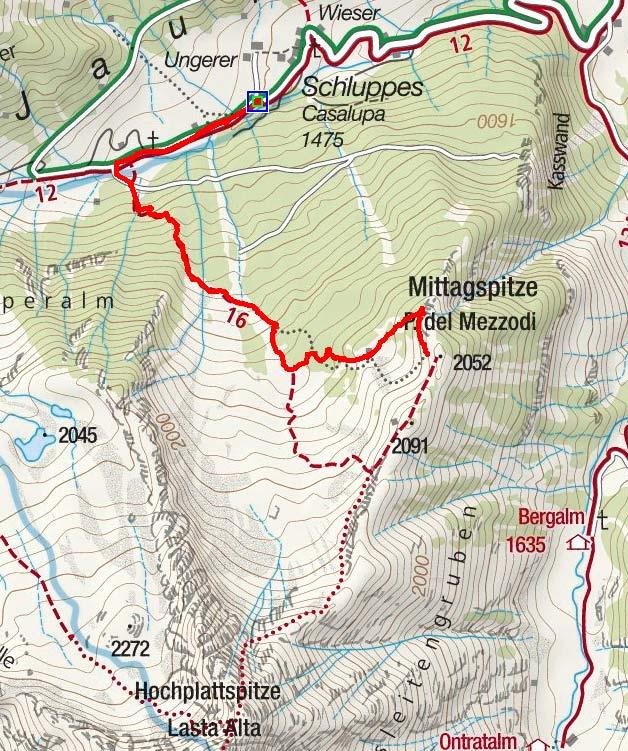 Mittagsspitze (2046 m) von Schluppes