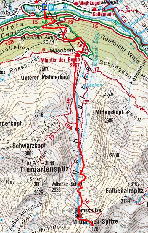 Mitterlochspitze (3176 m) von Melag