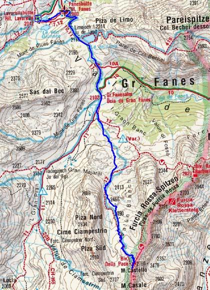 Monte Castello (2760 m) von der Lavarellahütte