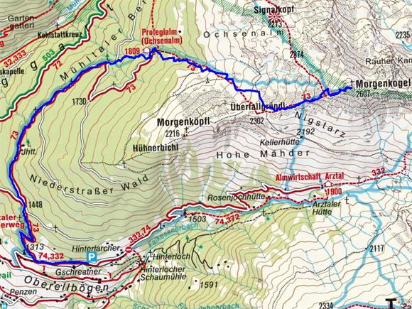 Morgenkogel (2607 m) von Oberellbögen