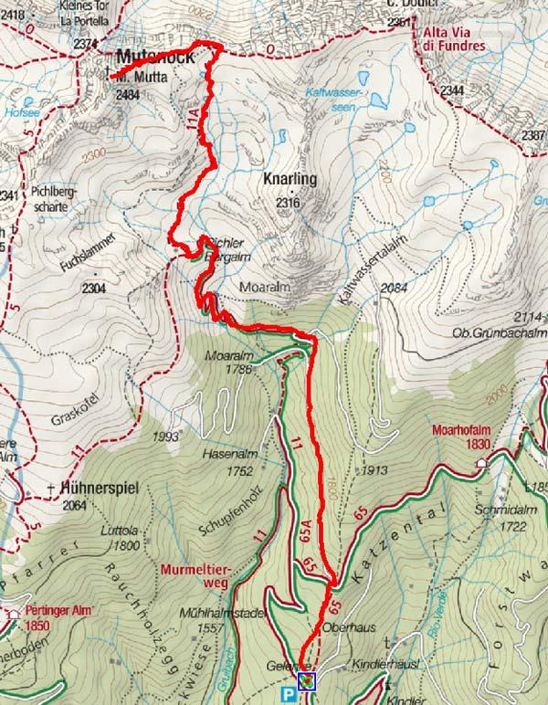 Mutenock (2484 m) vom Parkplatz Gelenke