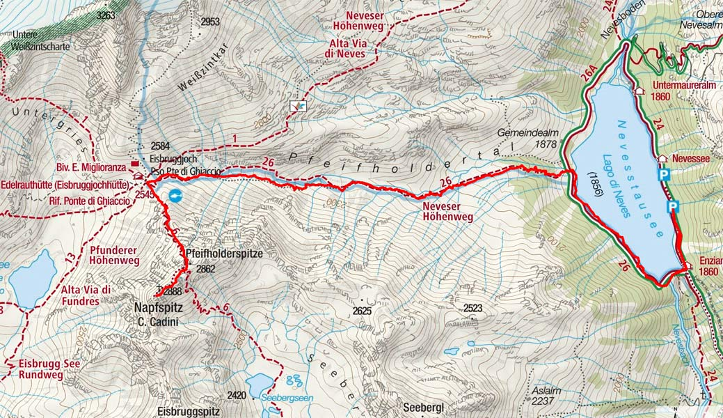Napfspitze (2888 m) vom Neves-Stausee