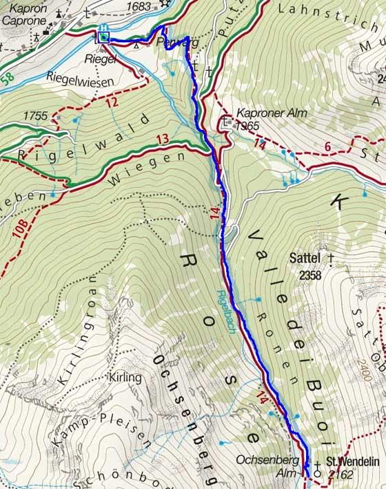 Ochsenberg Alm (2154 m) von Kapron