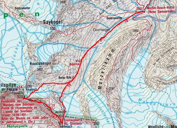 Ötzi Fundstelle - Tisenjoch (3210 m) von der Martin Busch Hütte