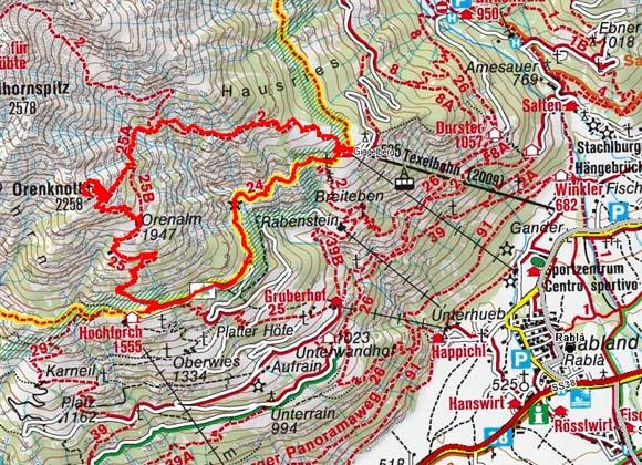 Orenknott (2258 m) von der Texlbahn