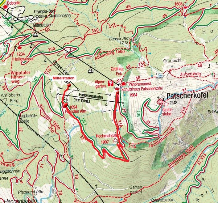 Patscheralm von der Patscherkofel Bergstation