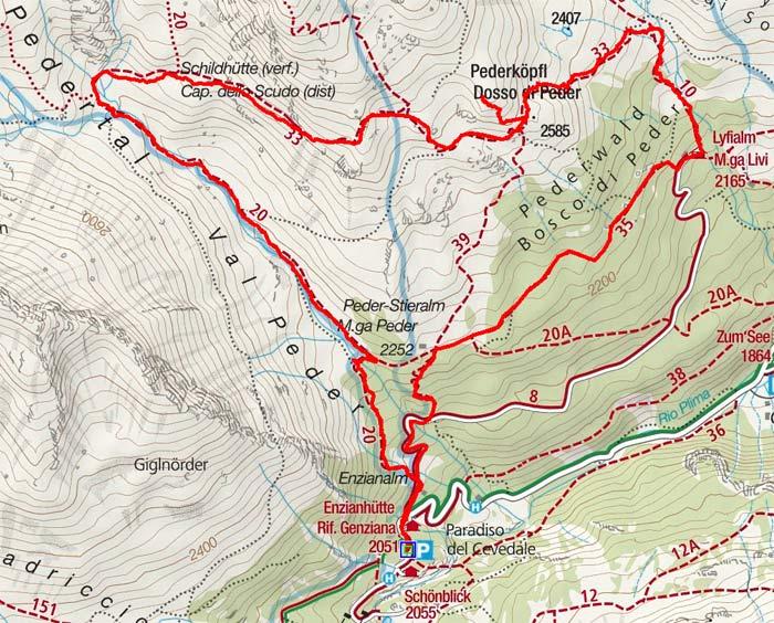 Pederköpfl (2585 m) und Lyfialm von Hintermartell