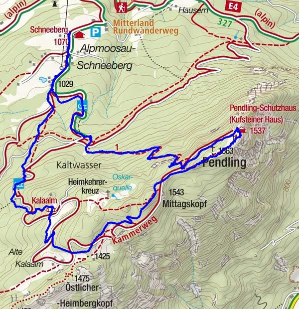 Pendling (1563 m) vom Gasthof Schneeberg