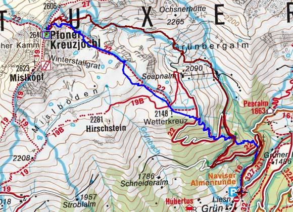 Pfoner Kreuzjöchl (2640 m) von Navis