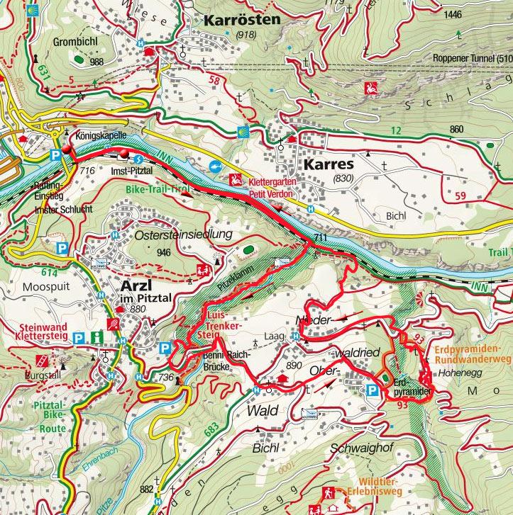 Pitzenklamm-Rundwanderung vom Bahnhof Imst-Pitztal