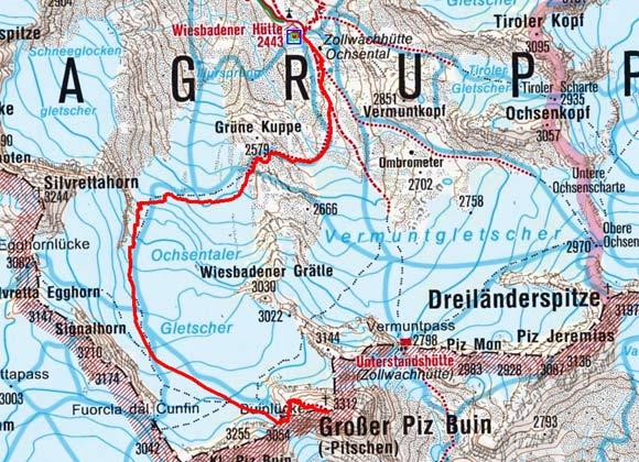 Großer Piz Buin (3312 m) von der Wiesbadener Hütte