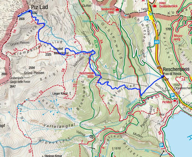 Piz Lad (2808m) vom Reschenpass