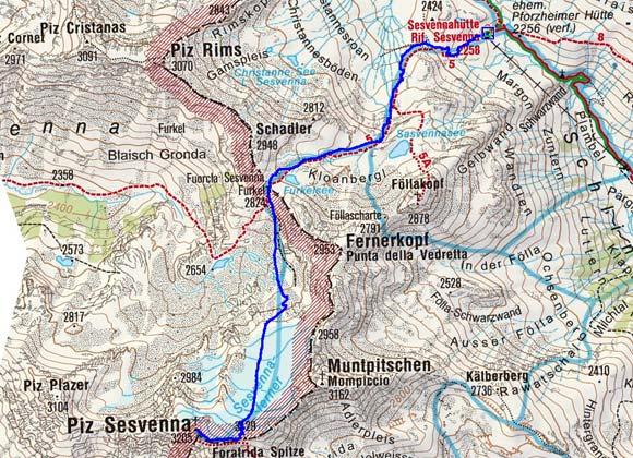 Piz Sesvenna (3205 m) von der Sesvennahuette