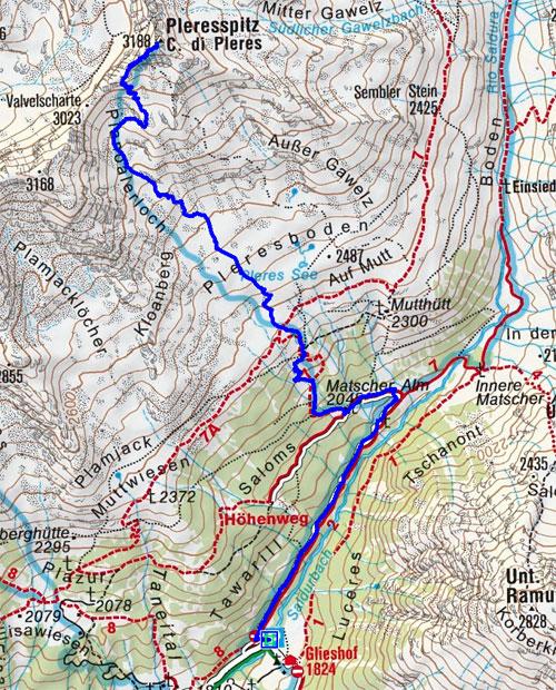 Pleres Spitze (3188 m) vom Glieshof