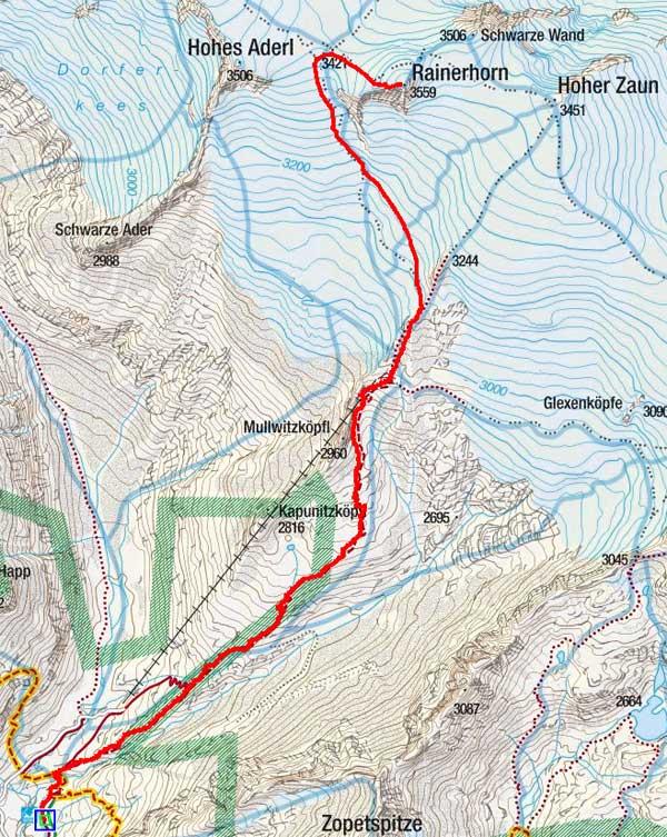 Rainerhorn (3559 m) von der Johannishütte