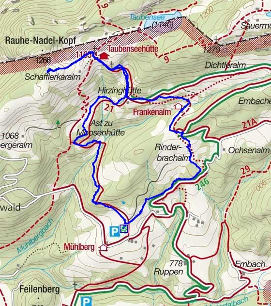 Rauhe-Nadel-Kopf im Kaiserwinkl vom Mühlberg