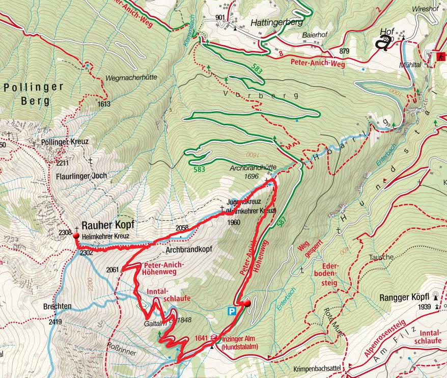 Rauher Kopf (2308 m) von der Inzinger Alm