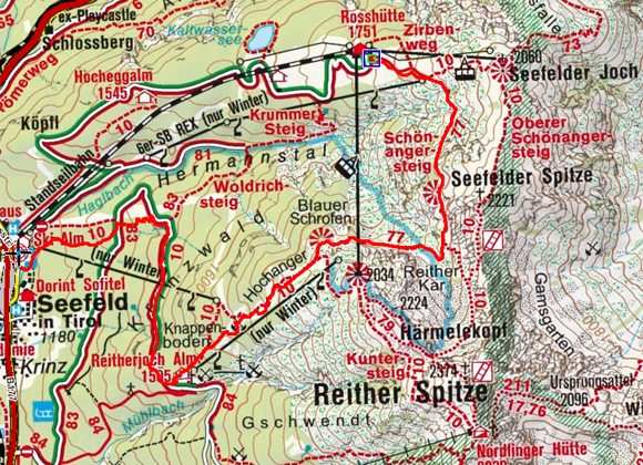 Reitherjoch Alm über den Schönangersteig