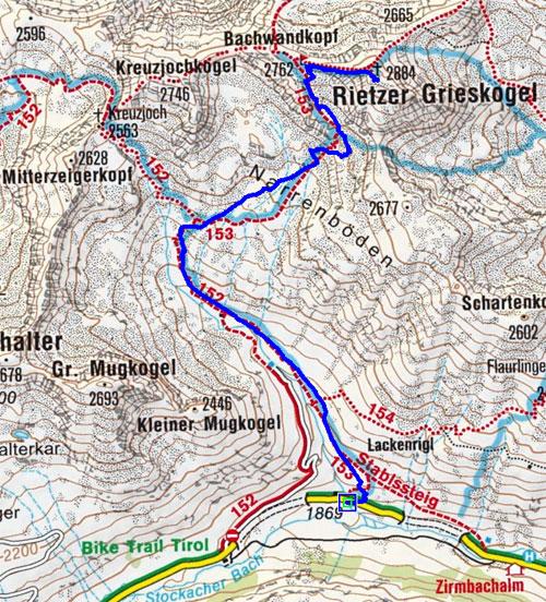 Rietzer Grieskogel (2884 m) aus dem Sellraintal