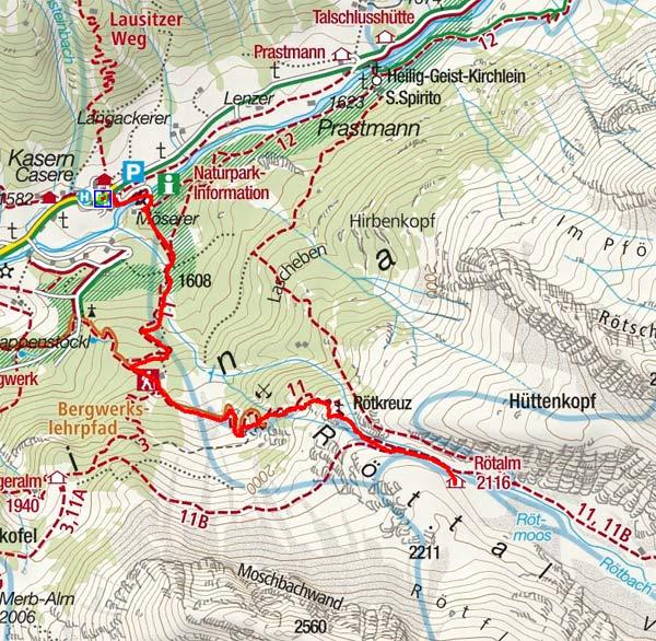 Rötalm (2116 m) und Rötmoos von Kasern