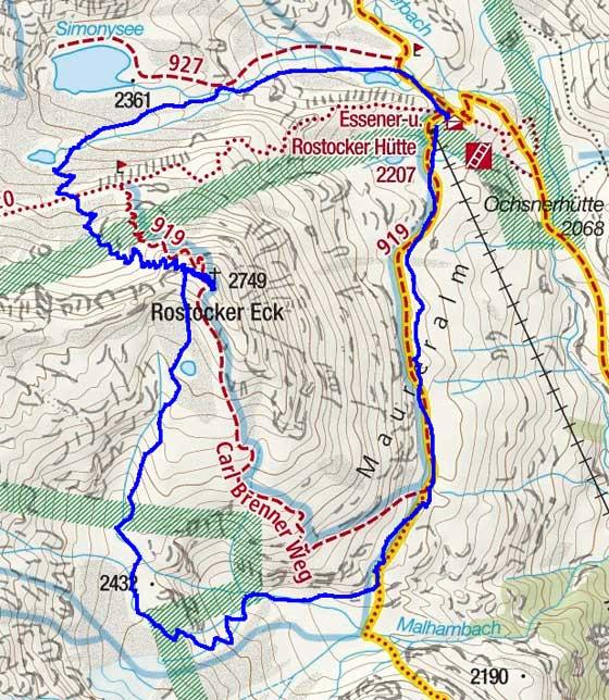Rostocker-Eck (2749 m) Überschreitung von der Essener-Rostocker-Hütte