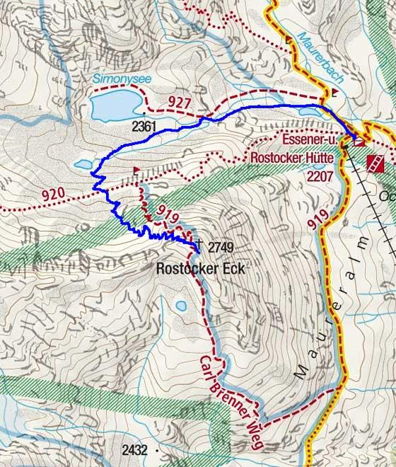 Rostocker-Eck (2749 m) von der Essener-Rostocker-Hütte