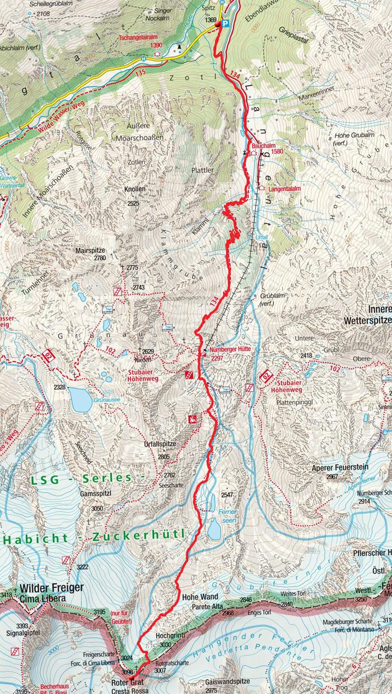 Roter Grat (3098m) über die Nürnberger Hütte
