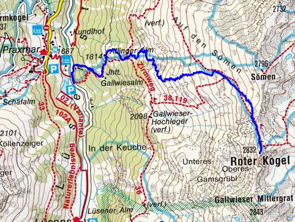 Roter Kogel (2832 m) aus dem Lüsenstal