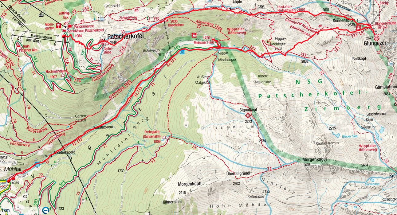 """Patscherkofel – Glungezer """"Route Roman"""" mit Abfahrt Viggartal"""