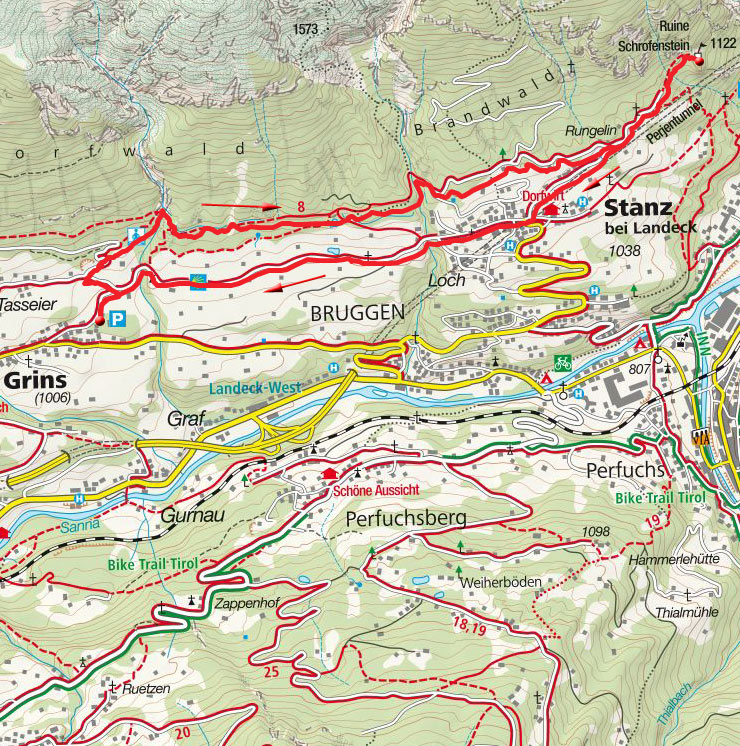 Burgruine Schrofenstein (1122m) von Grins