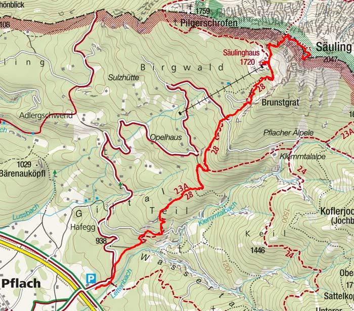 Säuling (2047 m) von Pflach