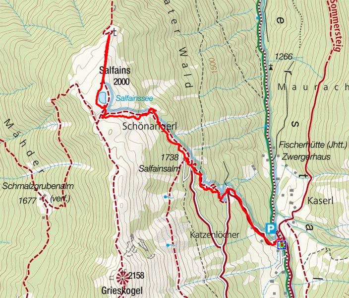 Schönangerl See & Salfeins (2000 m) aus dem Senderstal