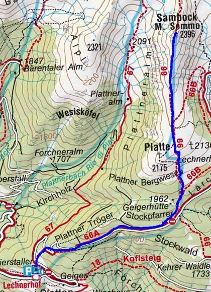 Sambock (2396 m) von Platten
