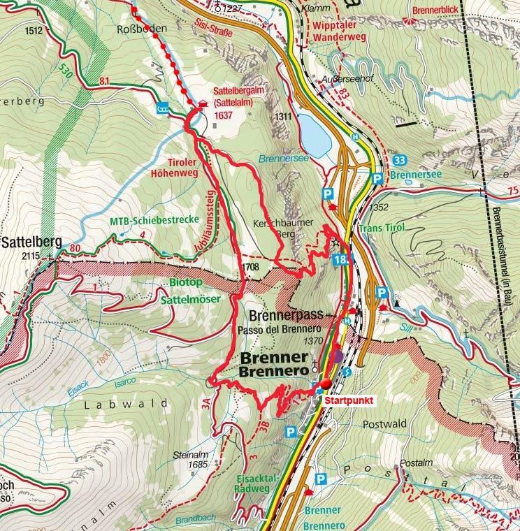 Sattelbergalm - Rundwanderung vom Brenner