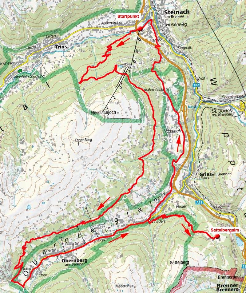 Lärchenwiesenweg – Sattelbergalm Runde von Steinach