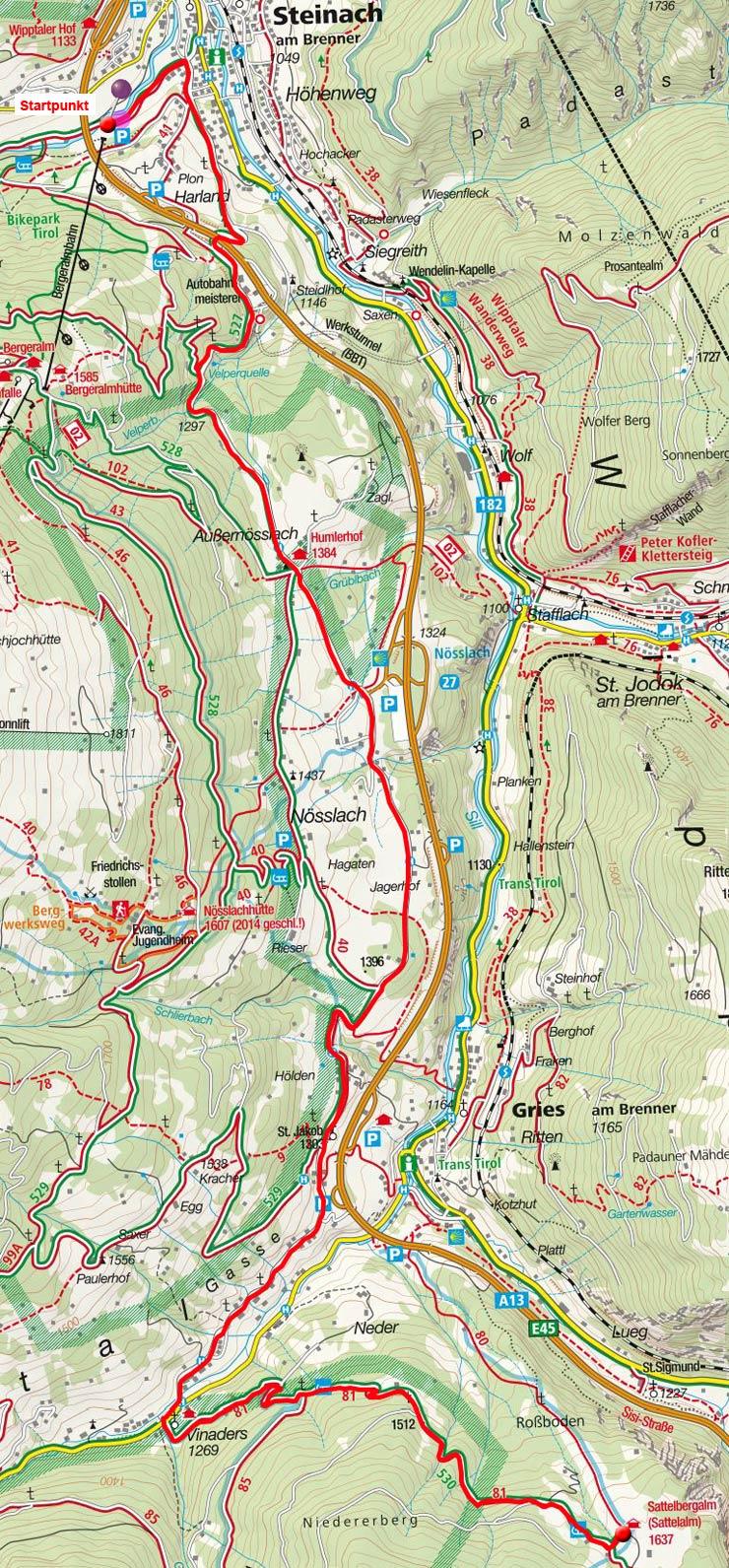 Sattelbergalm von Steinach über Nösslach