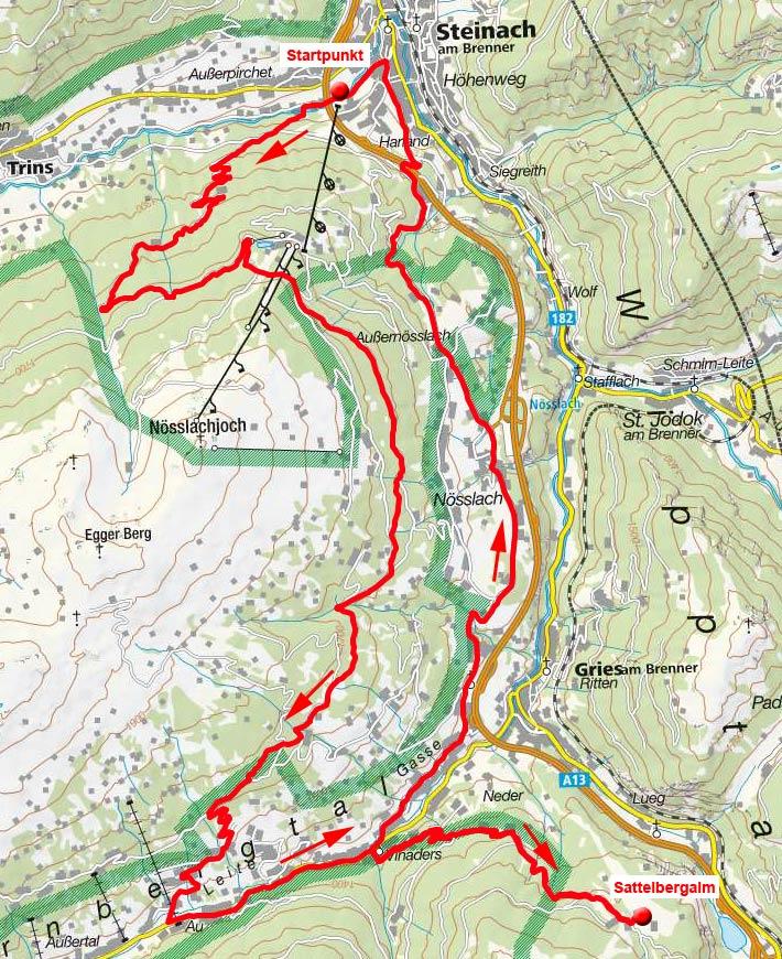 Nösslachhütte-Sattelbergalm Runde von Steinach