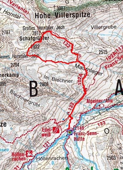 Schafgrübler (2922 m) von der Franz Senn Hütte