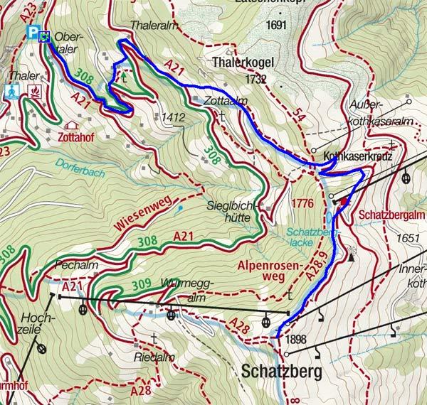 Schatzberg (1898 m) vom Obertalerhof in Alpbach, Tirol
