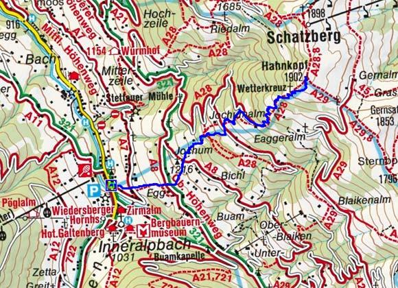 Schatzberg-Hahnkopf (1902 m) von Inneralpbach