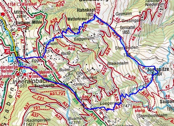 Schatzberg (Hahnkopf) - Joelspitze Rundtour