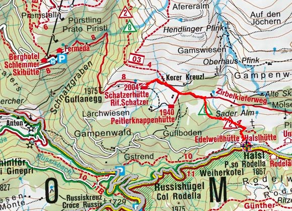 Schatzerhütte (2004 m) von der Halslhütte
