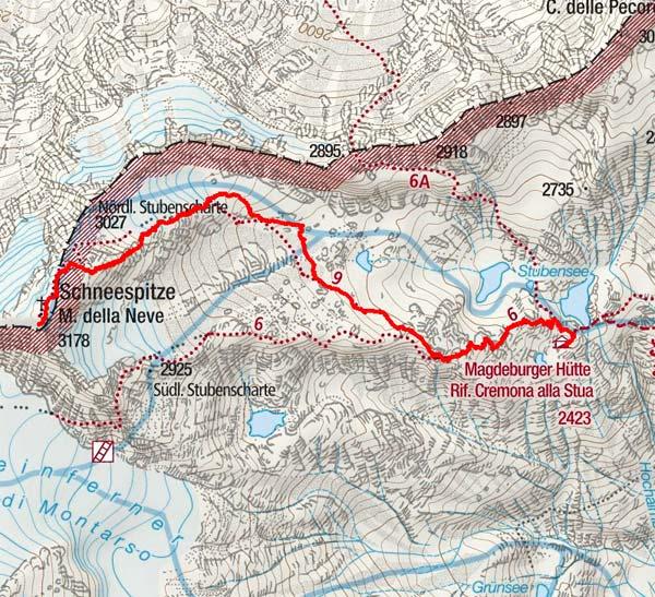 Schneespitze (3178 m) von der Magdeburger Hütte