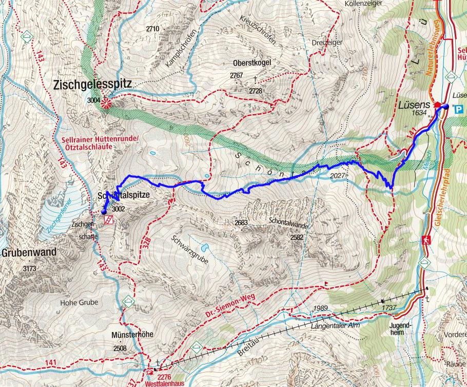 Schöntalspitze (3002m) von Lüsens