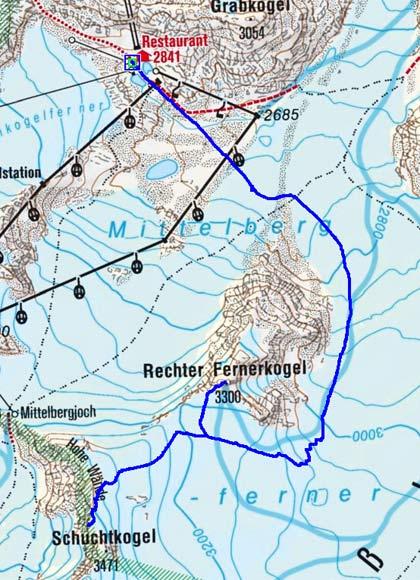 Rechter Fernerkogel/Schuchtkogel (3300m/3400 m) vom Pitztaler Gletscher