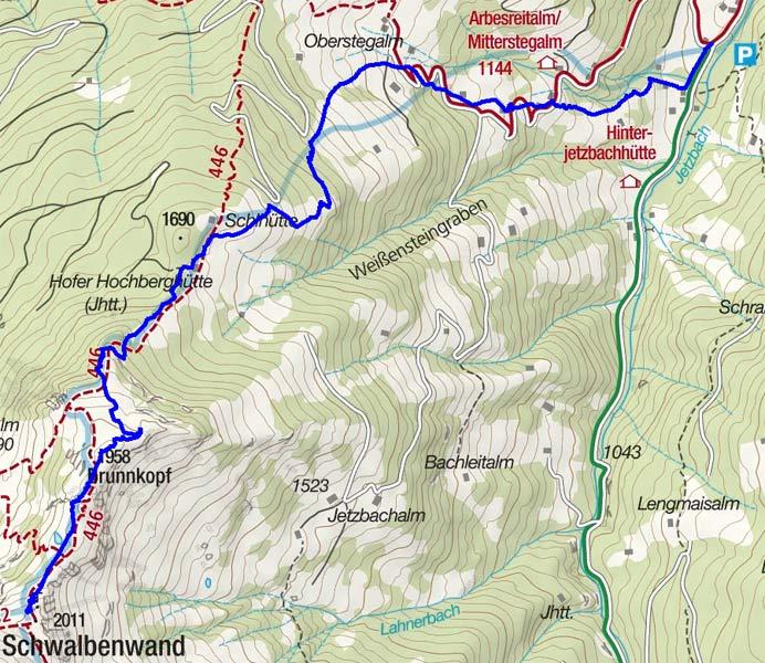 Schwalbenwand (2011 m) aus dem Jetzbachgraben