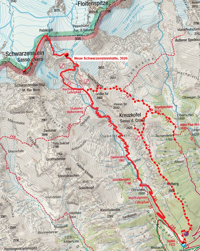 Schwarzenstein (3369m) durch das Rotbachtal