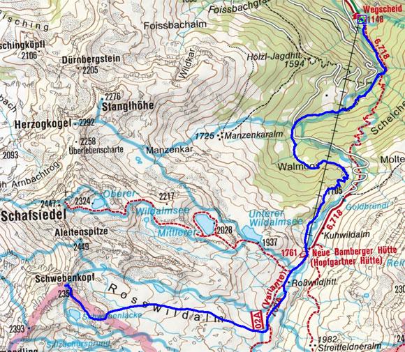 Schwebenkopf (2354 m) über die Bamberger Hütte